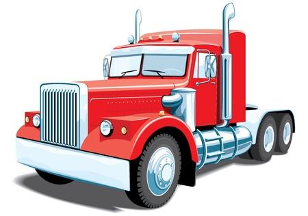 semi truck: cami�n rojo semi aislados sin gradientes