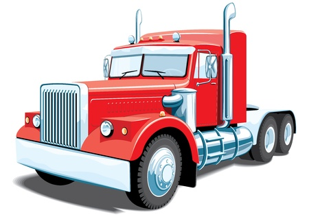 isolated red semi truck without gradients