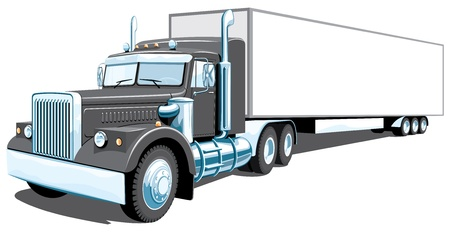 isolated semi truck without gradients Vector