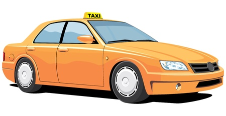 yellow car: Vector isolated yellow taxi without gradients Illustration