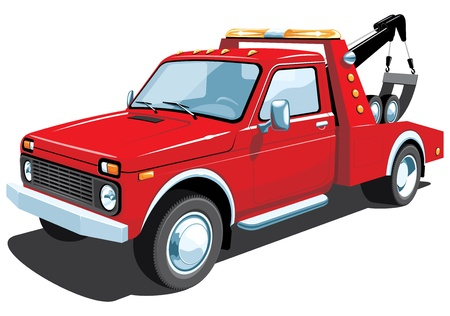 camion grua: Vector aislado remolque camión rojo