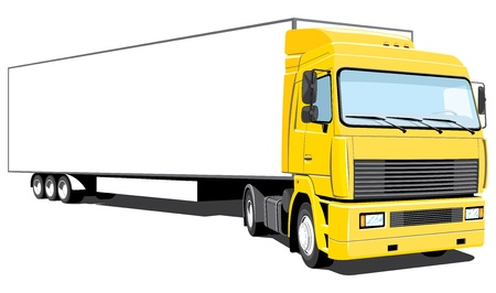 semi truck: Vector isolated yellow semi truck.