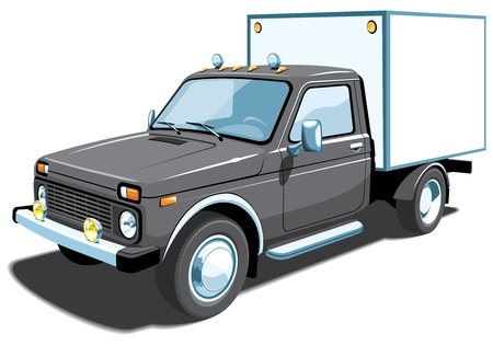 Isolated black delivery truck Vector