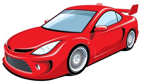 course de voiture: Vecteur isol� voiture de sport rouge