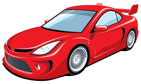 car wheels: Vector isolated red sports car Illustration
