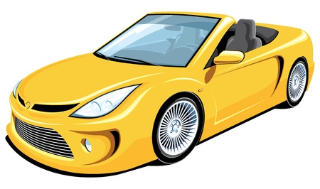 one vehicle: Vector isolated yellow convertible car Illustration