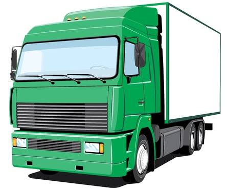 container freight: green delivery truck Illustration