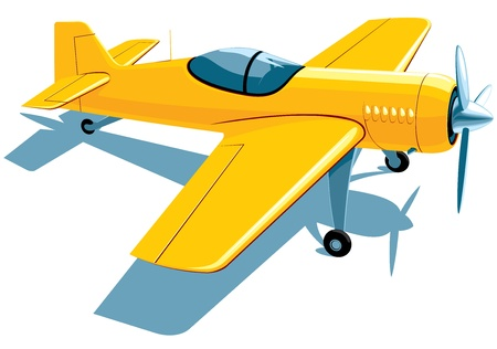 yellow sport airplane Vector