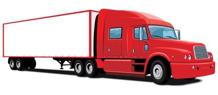 semi truck: cami�n rojo