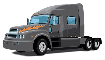 isolated black semi truck Vector