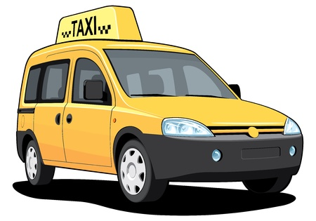 mini van: isolated yellow taxi without gradients
