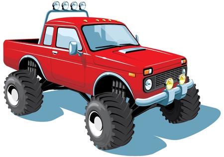 camioneta pick up: monster truck aislado Vectores
