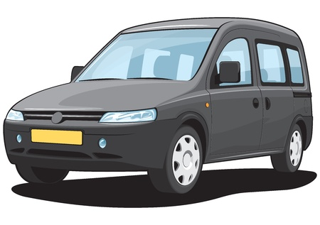 isolated black minivan cargo and passenger Vector
