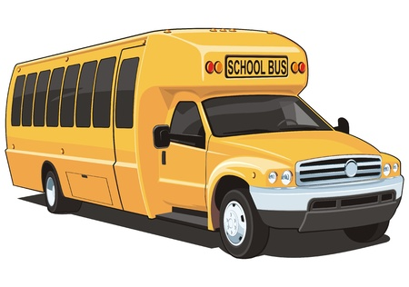 schoolbus: Vector isolated yellow school bus