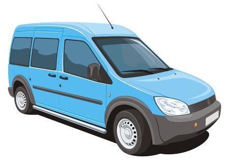 white van: Vector isolated minivan cargo and passenger