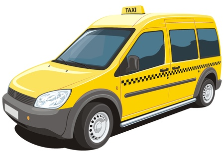 minivan: Vector isolated yellow taxi