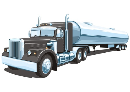 white truck: Vector isolated black tanker truck Illustration