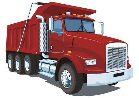 dumping: Vector isolated red dump truck