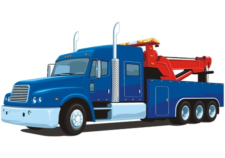 tow: Vector isolated heavy wrecker, tow truck