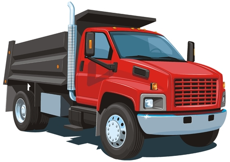 camion volquete: Aislado Vector cami�n volquete rojo