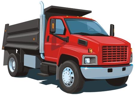 Vecteur isolé rouge camion-benne Banque d'images - 23153742
