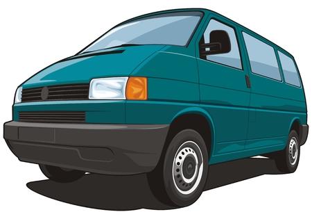 Vector isolated van passenger and cargo