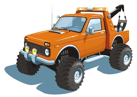 Vector isolated wrecker, tow truck Vector