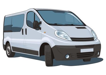 minibus: Vector isolated van passenger and cargo