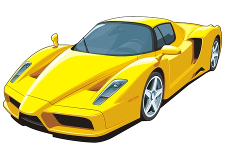 super car: Vector isolated yellow sports car