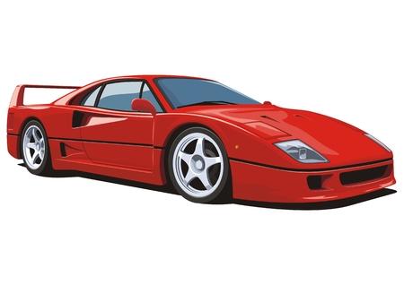 Vecteur isolé voiture de sport rouge sans gradients Banque d'images - 40524133