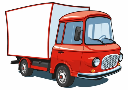 Vector isolated cartoon red commercial truck