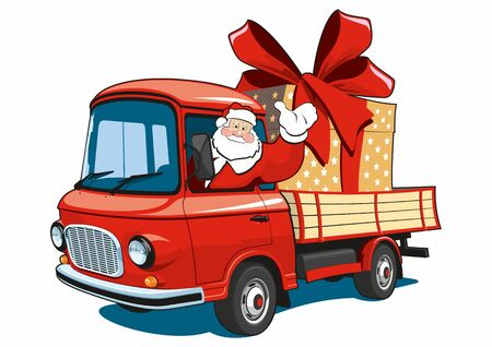 Isolated Santa Claus on red truck delivers gifts