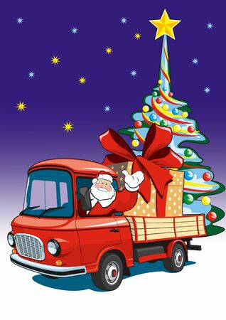 Vector illustration Santa Claus delivers gifts on a red truck.