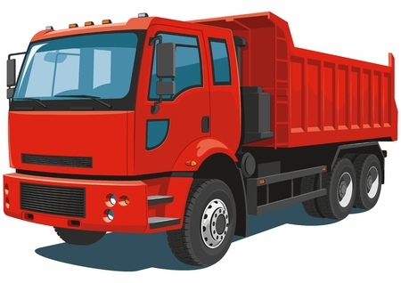 dump body: Vector isolated red dump truck on white background.