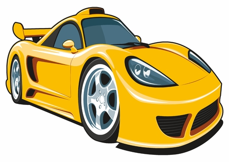 speedster: Vector isolated cartoon yellow sport car on white background.