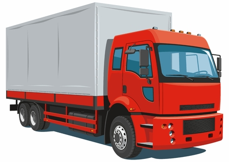 Vector isolated red commercial, delivery truck