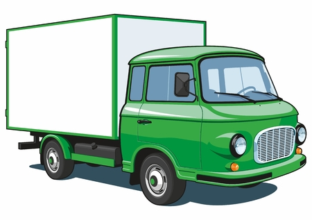 Vector isolated green delivery truck