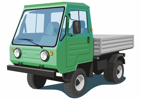 commercial: Vector isolated green cargo truck