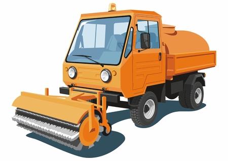 sweeper: Vector isolated orange street sweeper Illustration