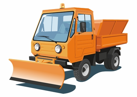 Vector isolated orange snowplow truck