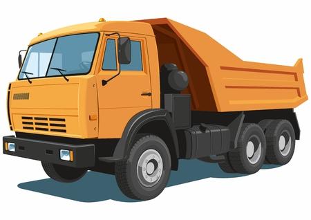dump body: Vector isolated orange dump truck Illustration