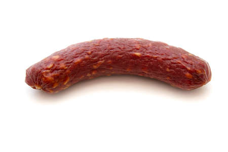 Tasty sausage, close-up, isolated on a white background.