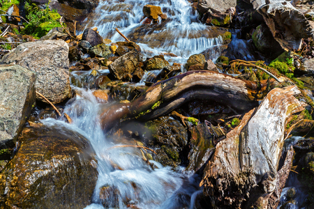 foreground: Stormy mountain river with a log in the foreground Stock Photo