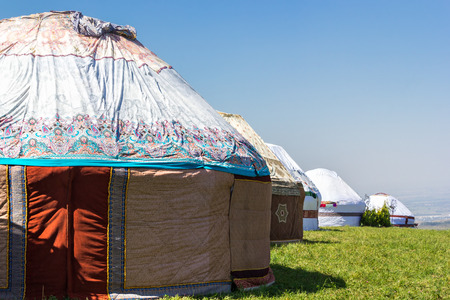 independent mongolia: village of yurts in the mountain pastures in Asia
