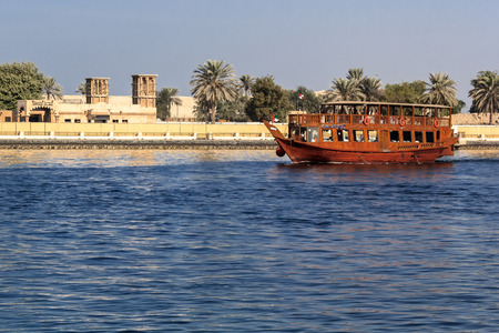 Pleasure craft in traditional Arabic style near Dubai Creek