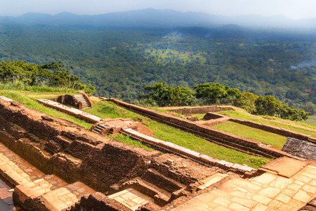 Ruins of the fortress and a view on the top of Sigiriya Lion Rock, Sri Lanka