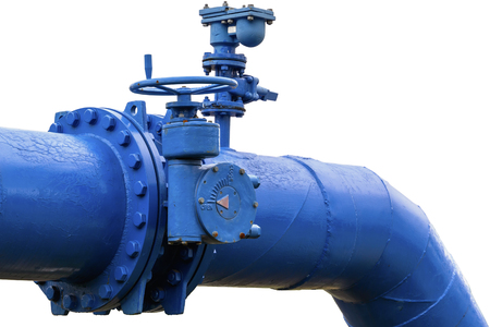 Old blue pipeline with valve isolated on white background Stock Photo