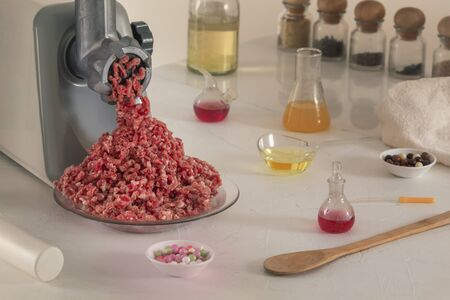 Manufacture of artificial meat from chemical elements in the laboratory.