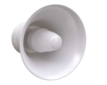 3D rendering model of a street loudspeaker in white on a white background. Isolated. makeup