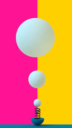 Balls flying from a spring on a bright two-color purple-yellow background. 3D rendering. Blank for design. Layout. Place for logo or text. Abstraction. Minimalism 스톡 콘텐츠